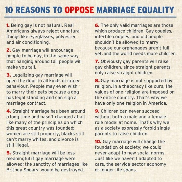 gay couples should have the same rights Liberal gay rights advocates for marriage for same-sex couples generally respond to conservative moral rhetoric by invoking a counter moral rhetoric of equality and rights: marriage is a right that should be made available to.